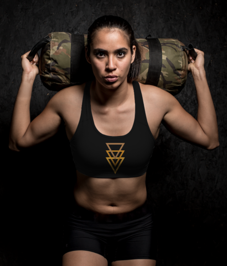 Gold triangle sports bra front