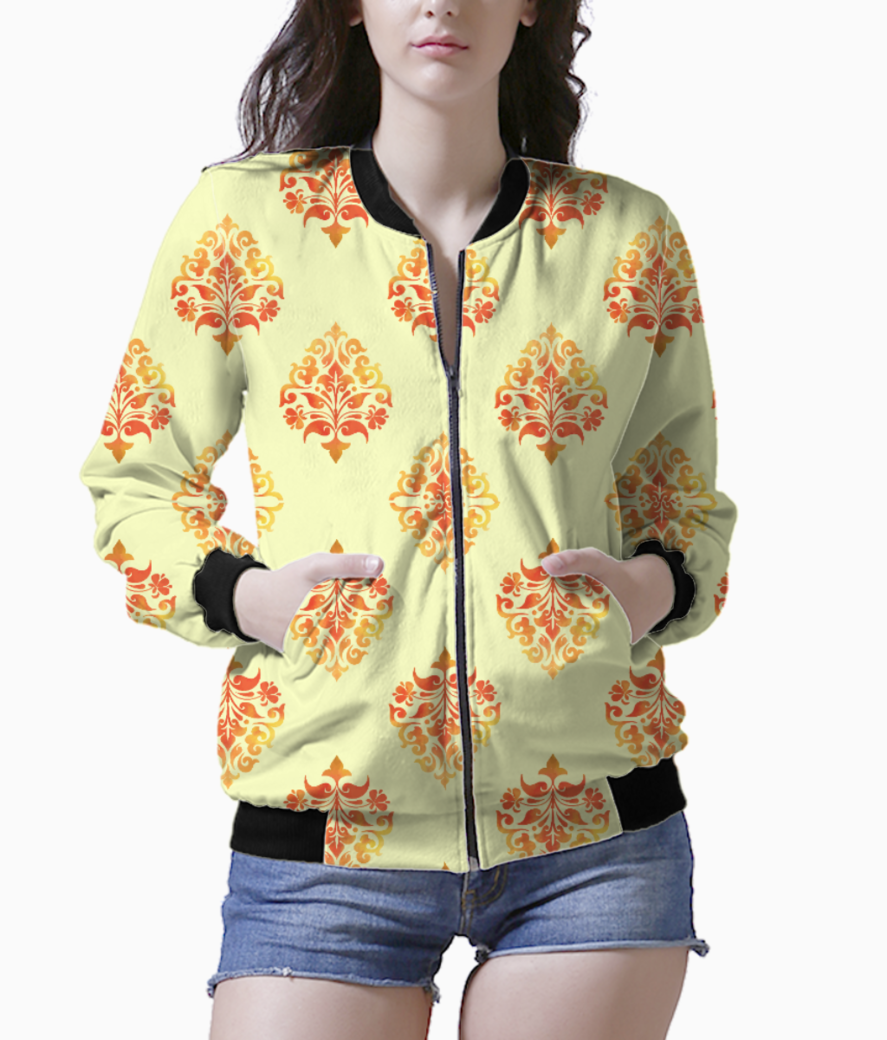 Yellow orange pattern bomber front