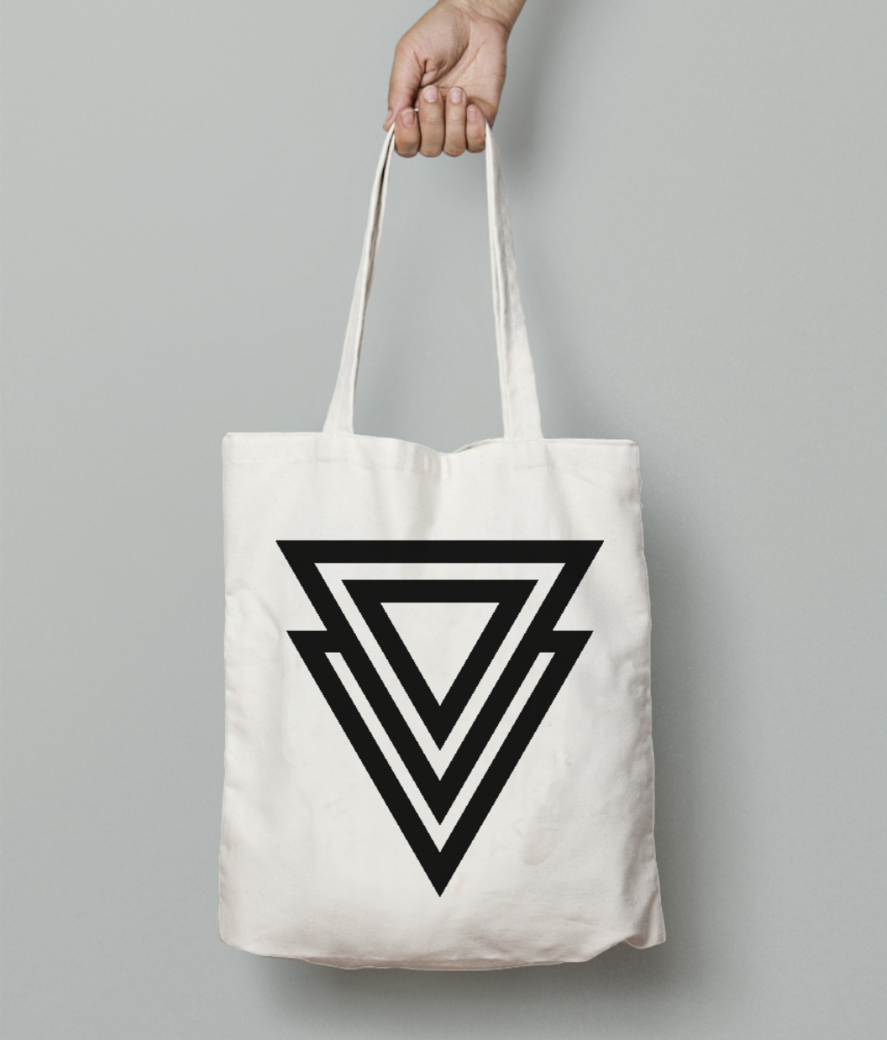 Double triangle arrow tote bag front