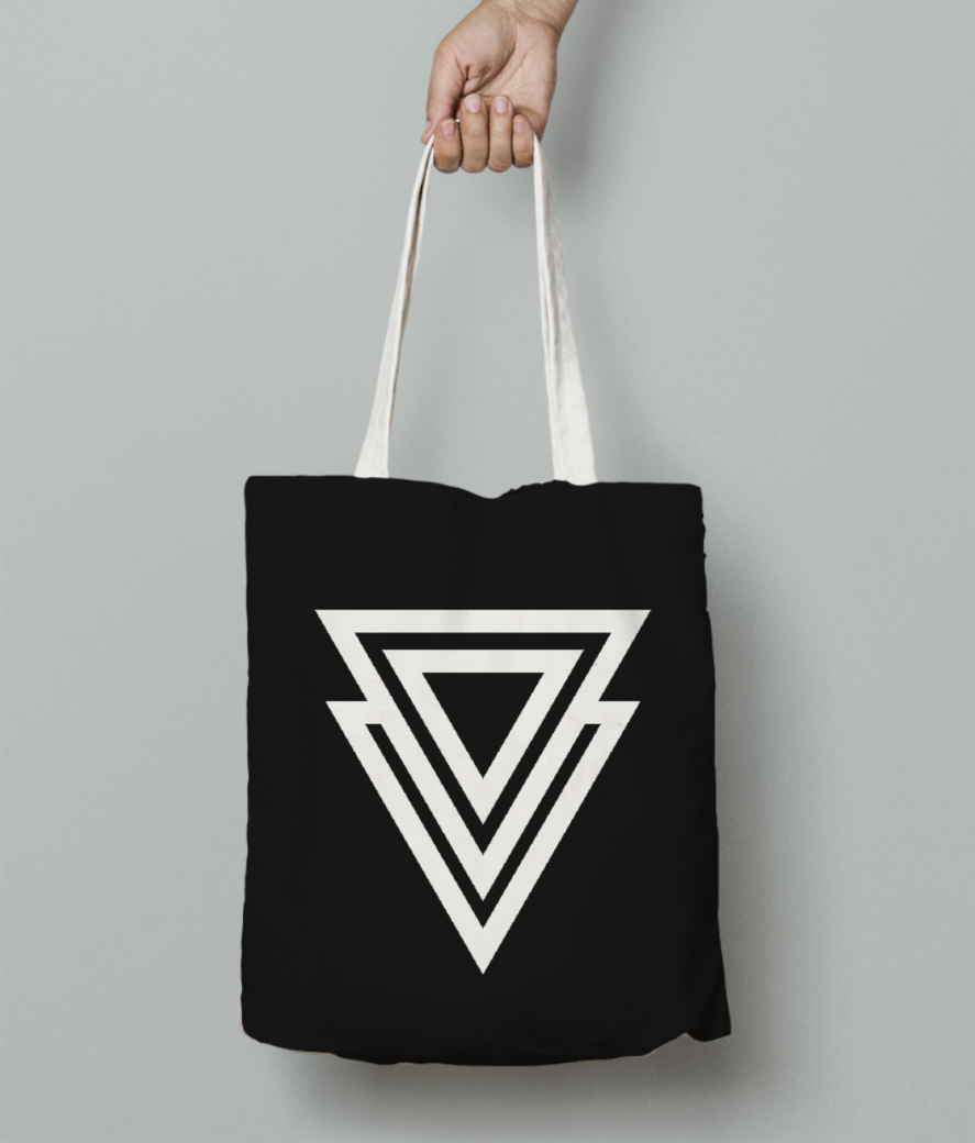 Double triangle tattoo tote bag front