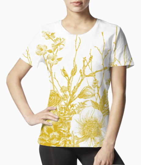 96594262 seamless border spring flowers and twig peonies spirea cherry blossom dogwood vintage botanical illu tee front