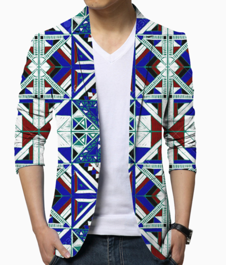 92678897 tribal vector ornament seamless african pattern ethnic carpet with chevrons aztec style geometric mo blazer front