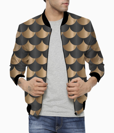 Black and copper mermaid pattern bomber front