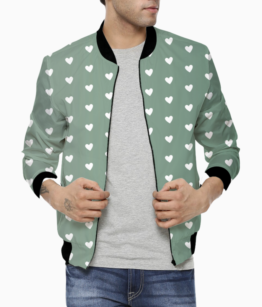 Foliage heart shape pattern bomber front