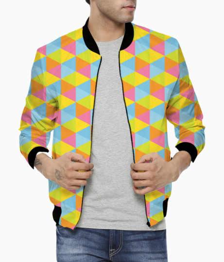 Hexagon seamless pattern bomber front