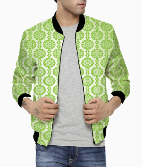 Islamic green color seamless pattern bomber front