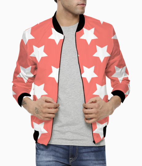 White stars living coral pattern bomber front