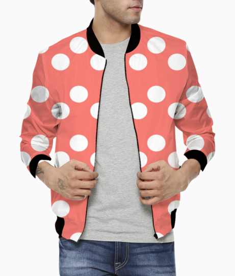 White dots living coral pattern bomber front