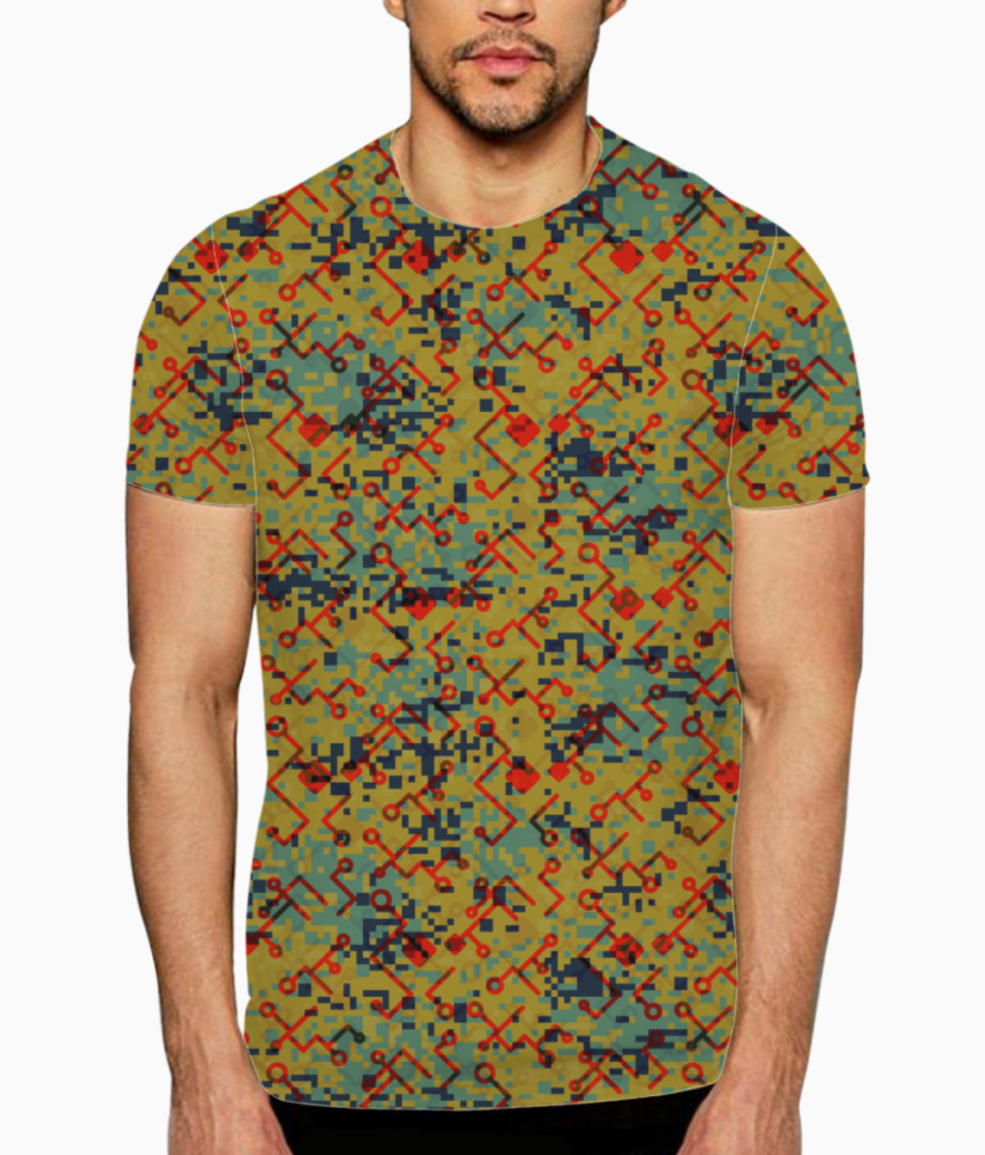 Camouflaged technology t shirt front