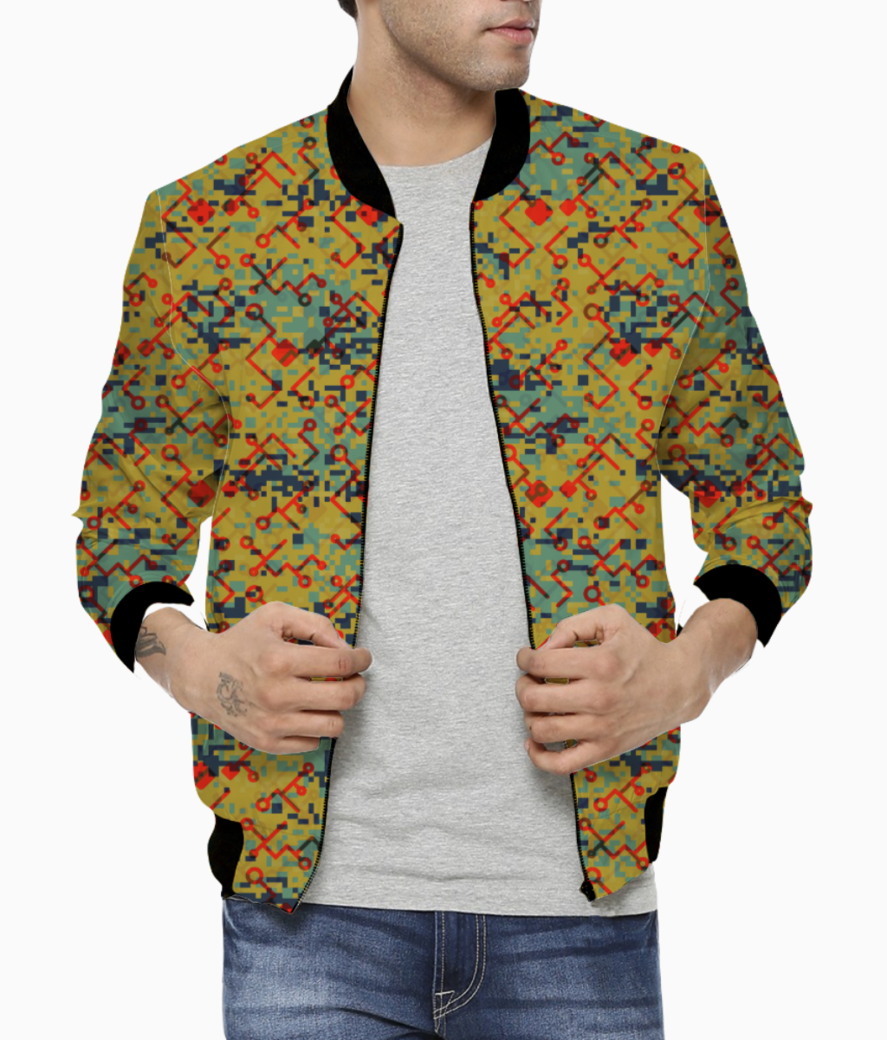 Camouflaged technology bomber front