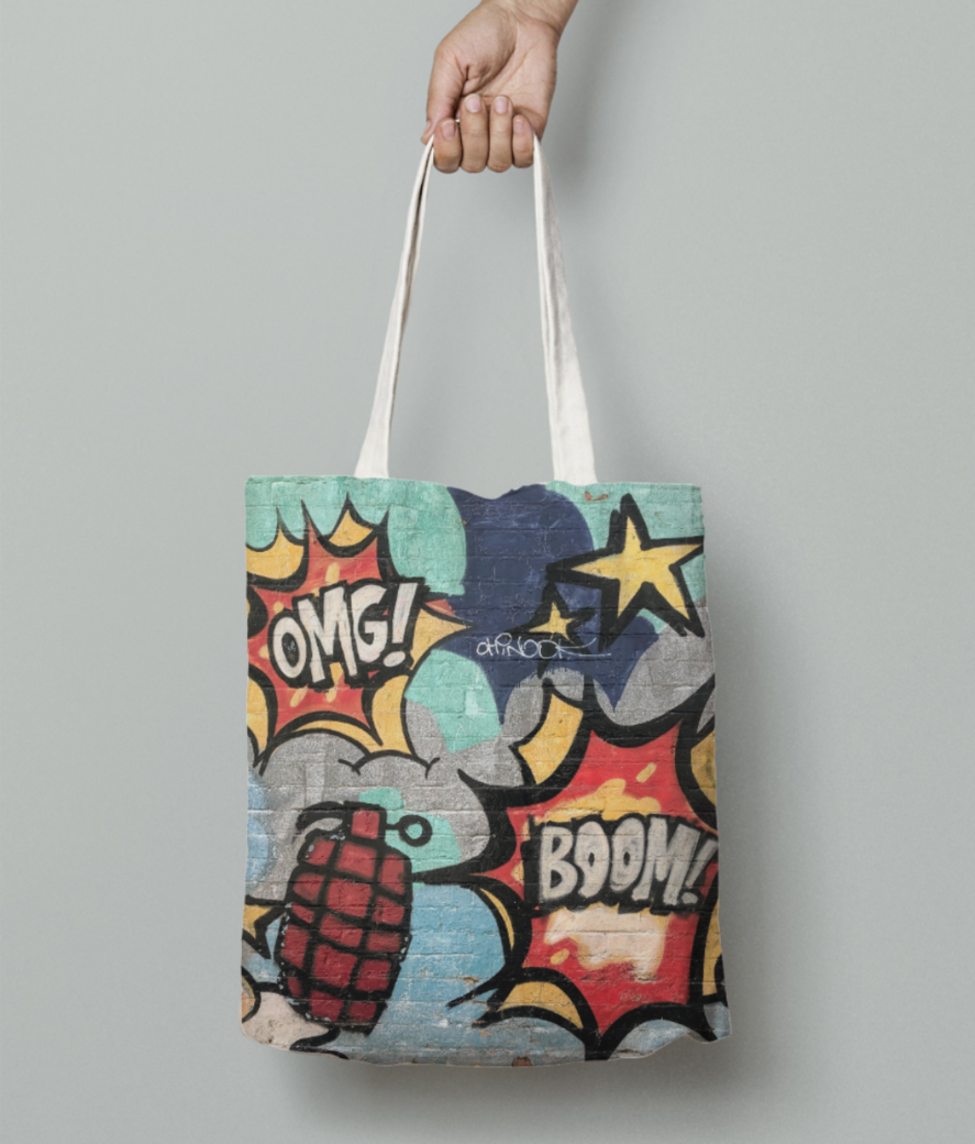 Cartoon explosion tote bag front