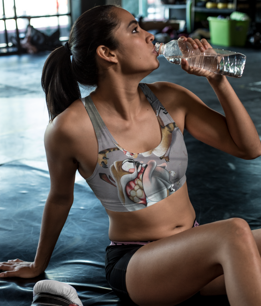 Dog vs cats lover sports bra front