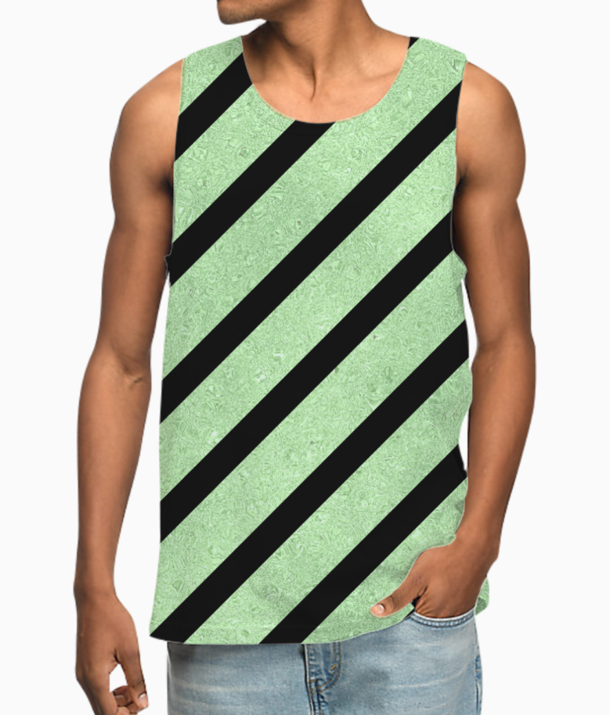Classic cross  green glitter stripes vest front