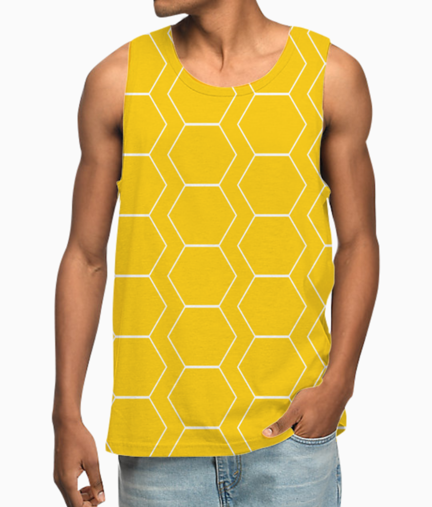 Yellow white hexagon pattern vest front