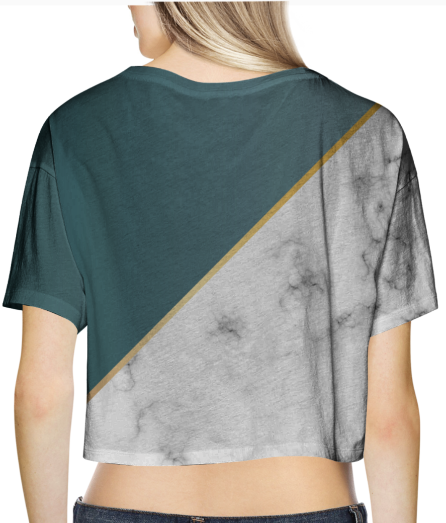 Abstract modern earthstone marble crop top back