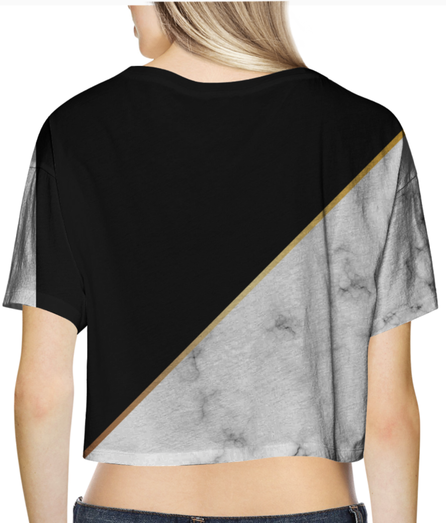 Abstract modern marble crop top back
