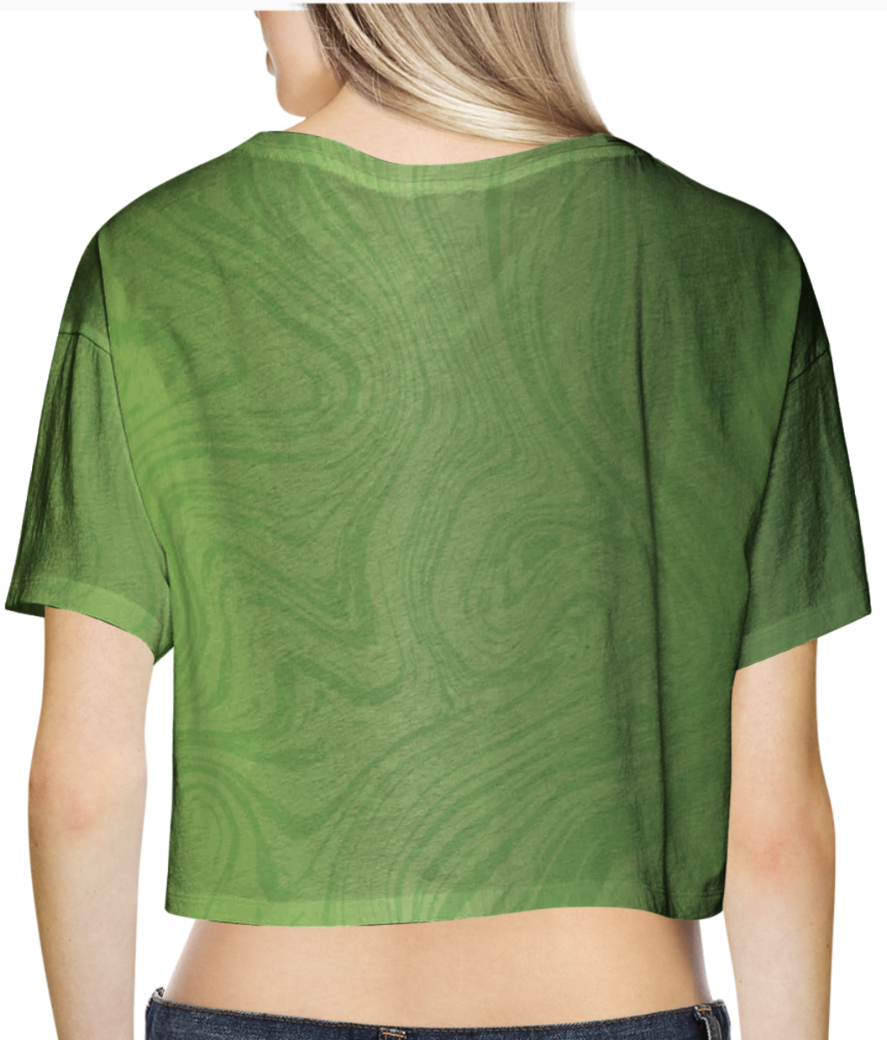 Green marble crop top back