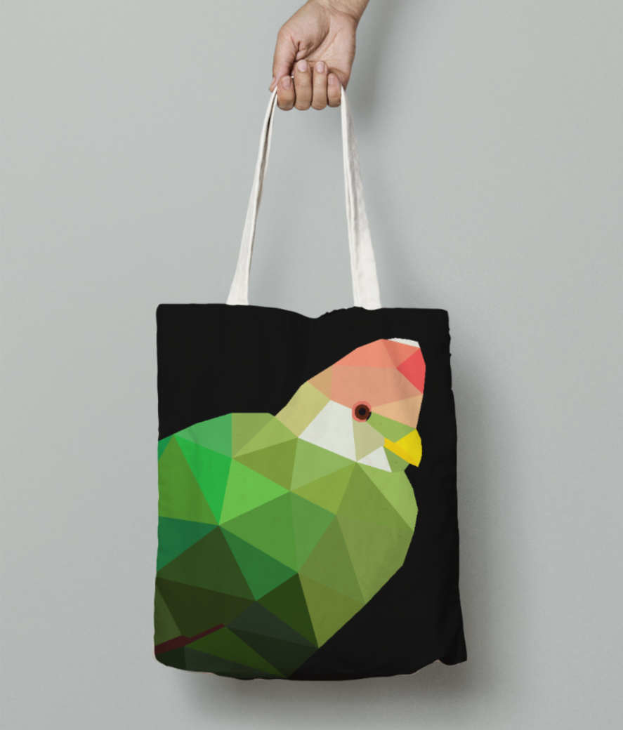 Red crested turaco origami art tote bag front