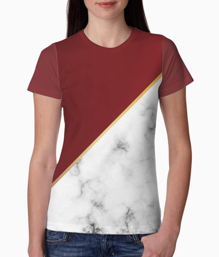Abstract modern garnet marble tee front