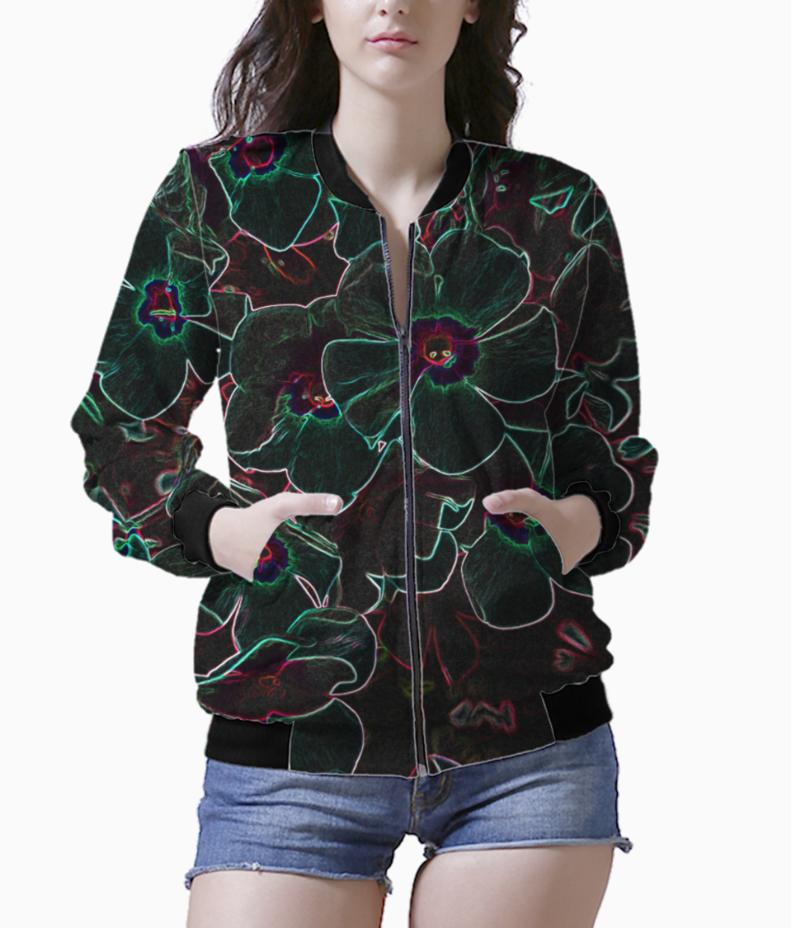 Floral darkness bomber front