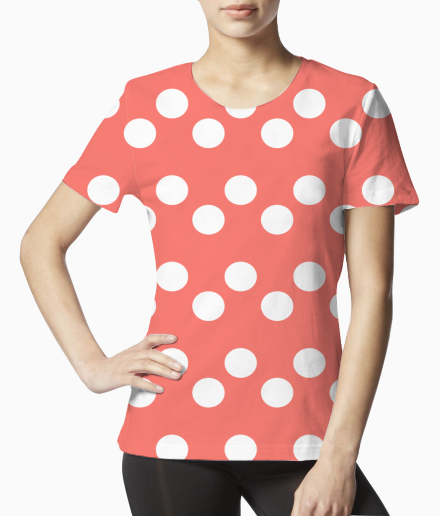 White dots living coral pattern tee front