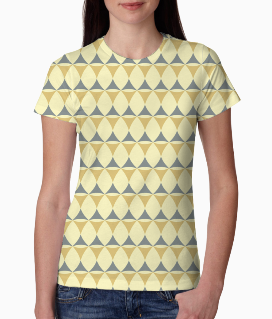 Yellow   grey seamless pattern tee front