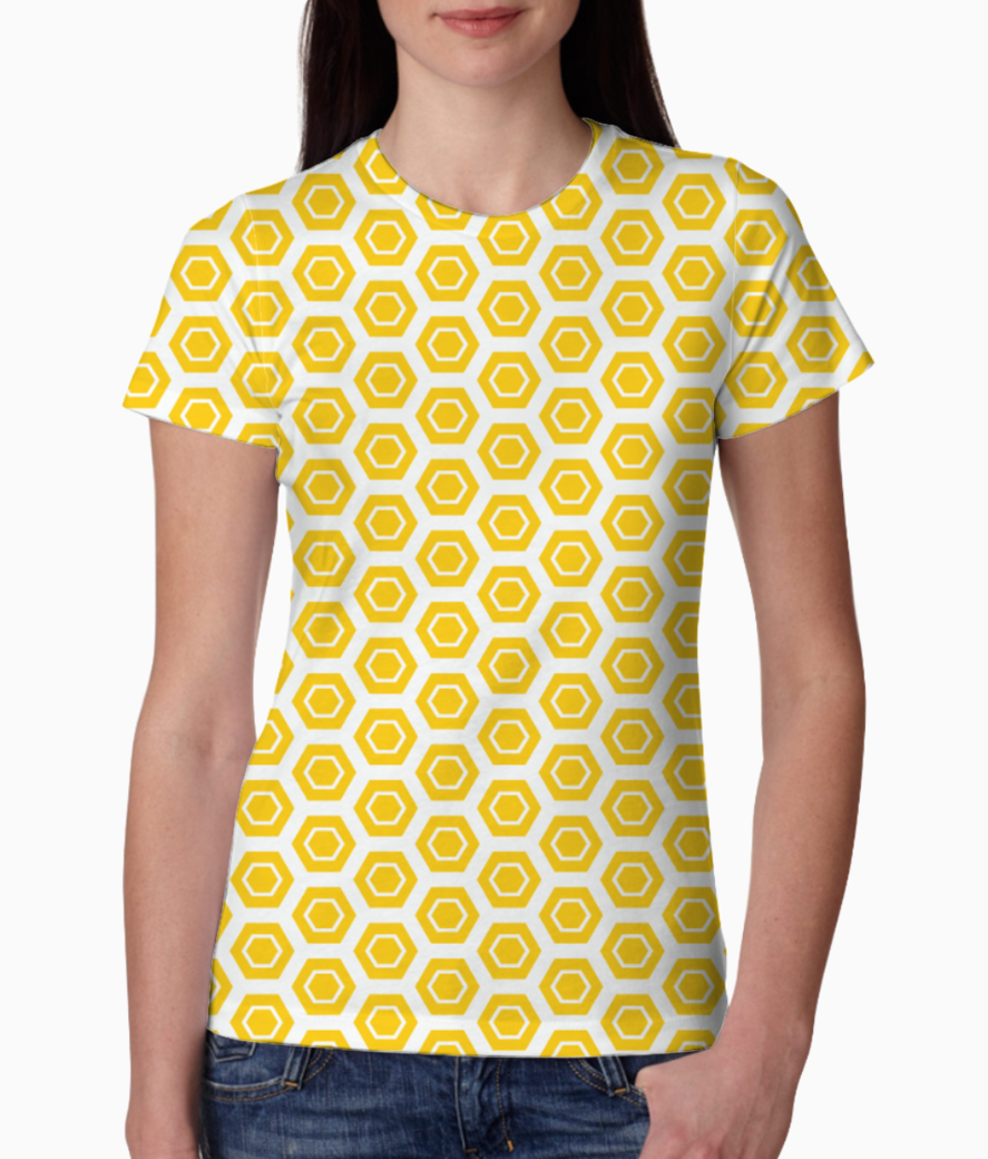 Yellow hexagon pattern tee front