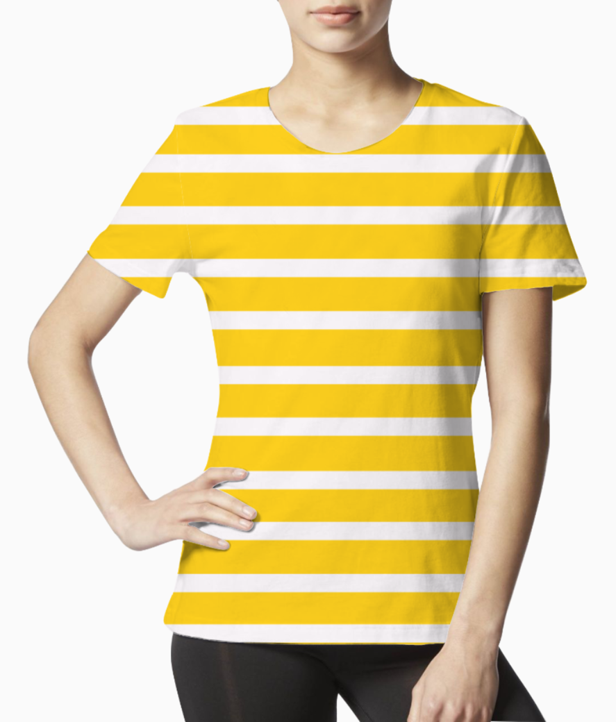 Yellow stripes pattern tee front