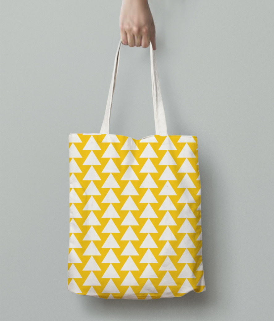Yellow white triangle pattern tote bag back