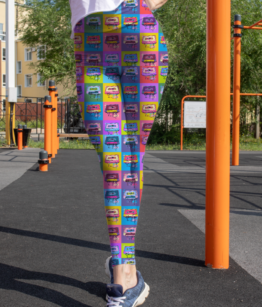 Psychedelic party small print leggings front