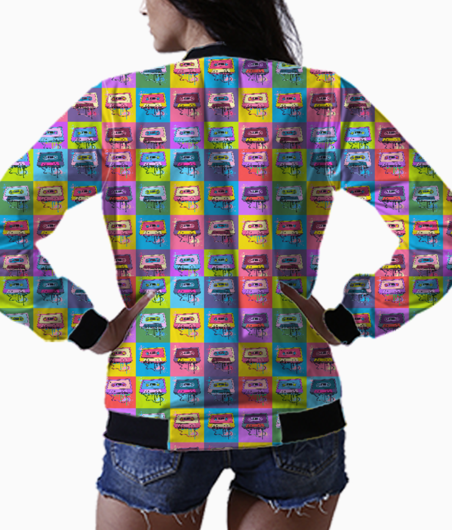 Psychedelic party small print bomber back