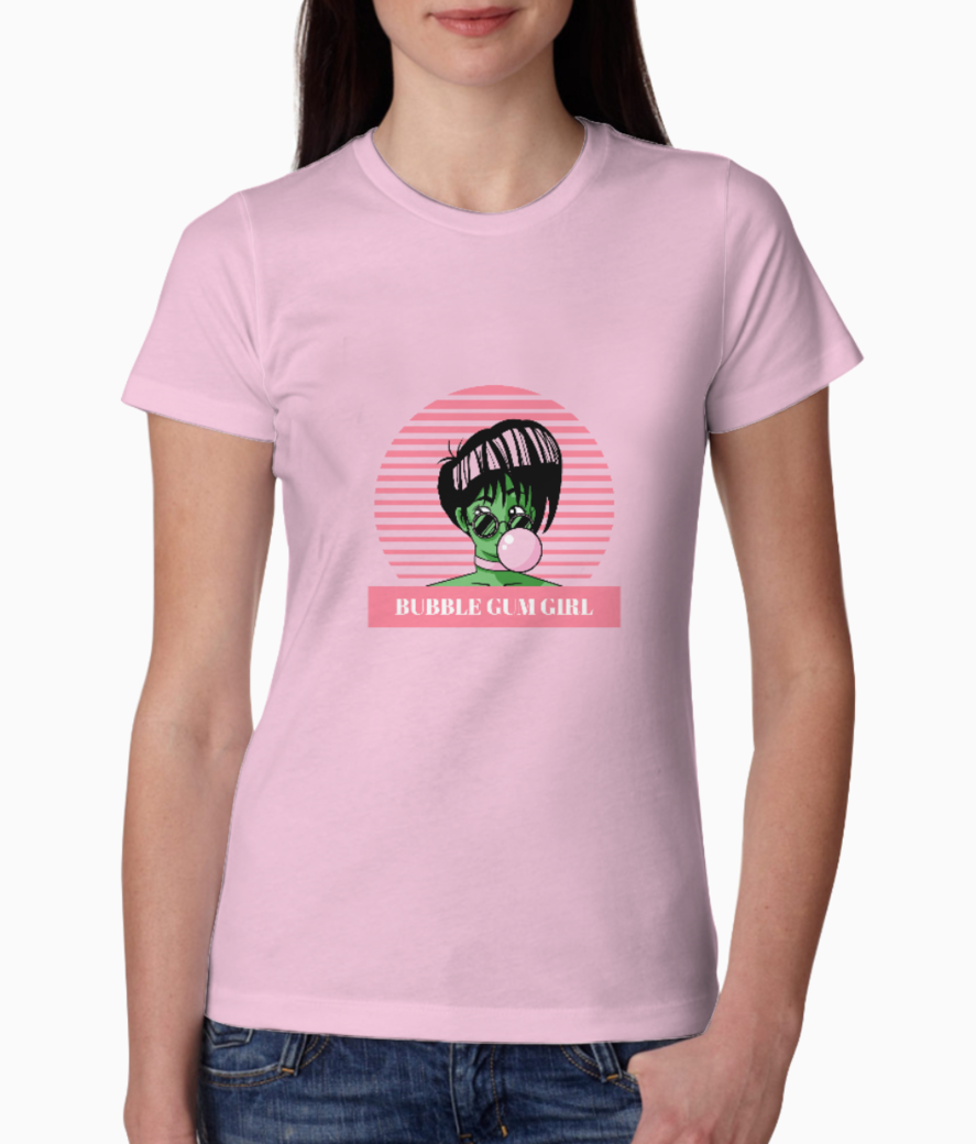 Retro style t shirt design maker with a bubble gum girl 1975g %281%29 tee front