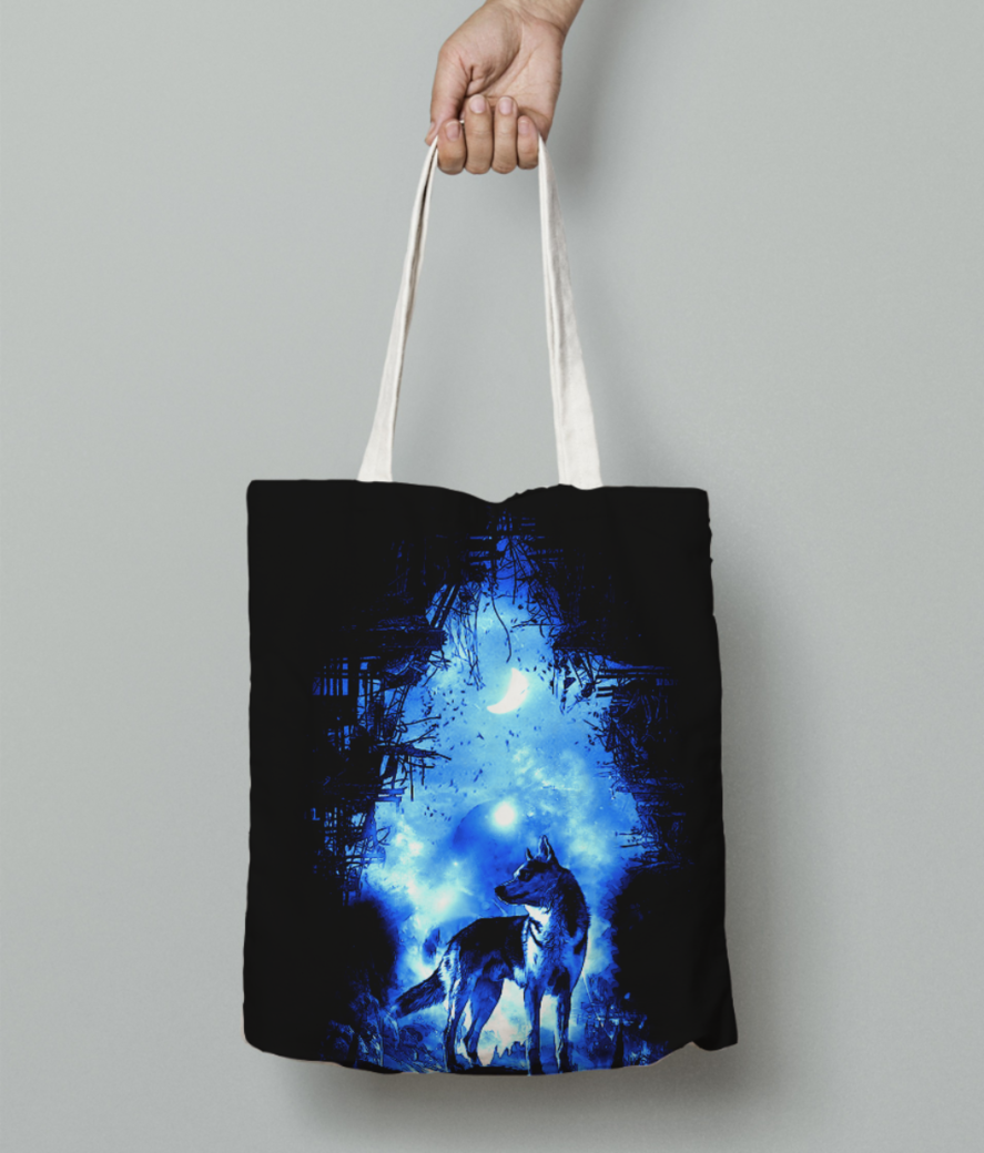 The wolf tote bag front