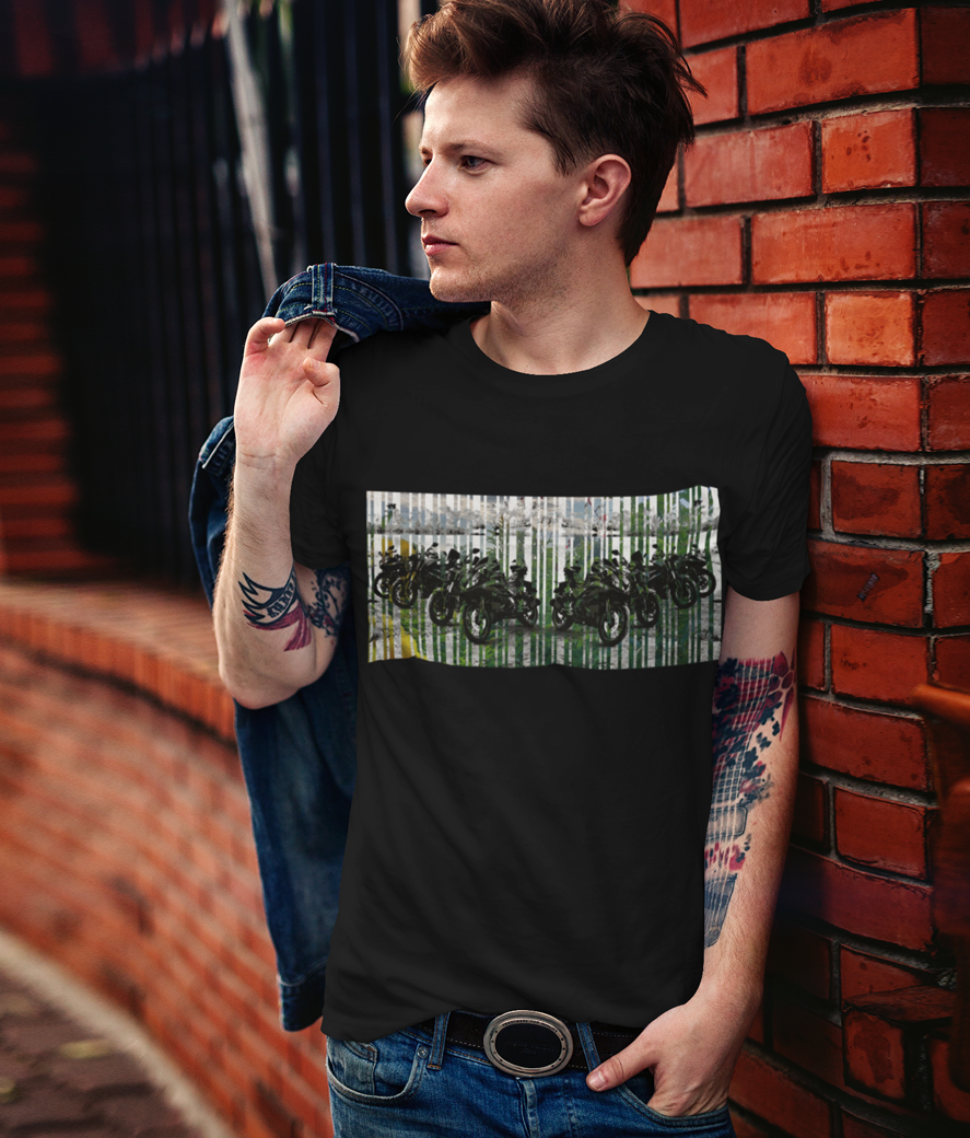 T shirt mockup featuring a stylish man leaning on a brick wall 2199 el1