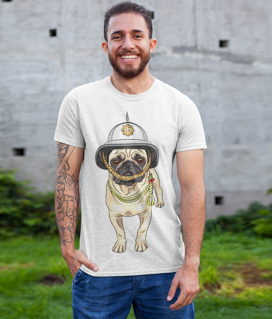 T shirt mockup featuring a smiling man with a tattooed arm 28619 %281%29