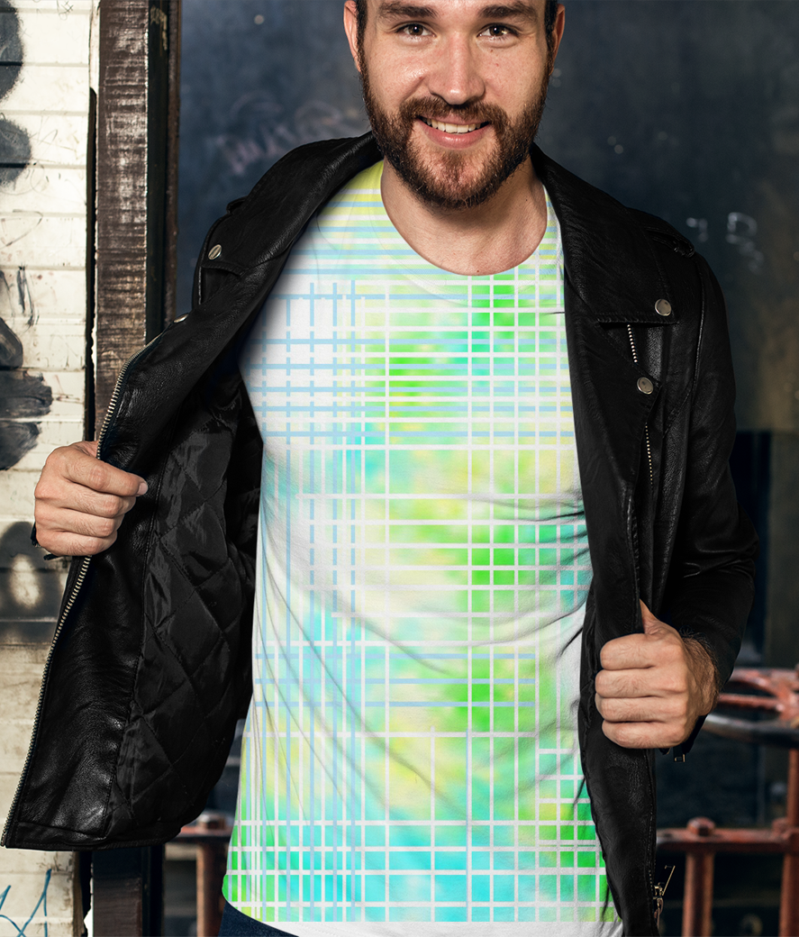 T shirt mockup of a man with a leather jacket against a graffiti wall 28193