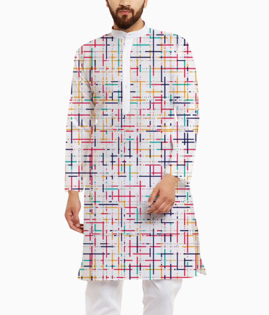 Abstract checks  pattern kurta front