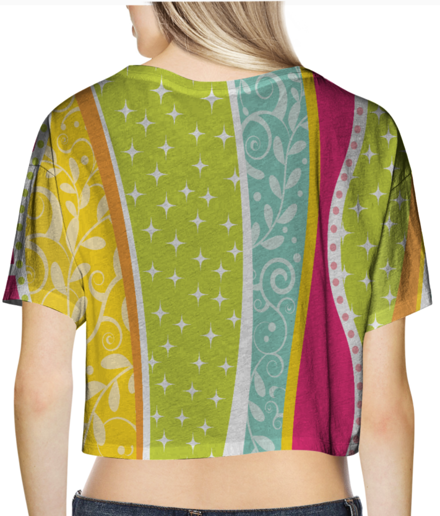 Abstract lines pattern 2 crop top back