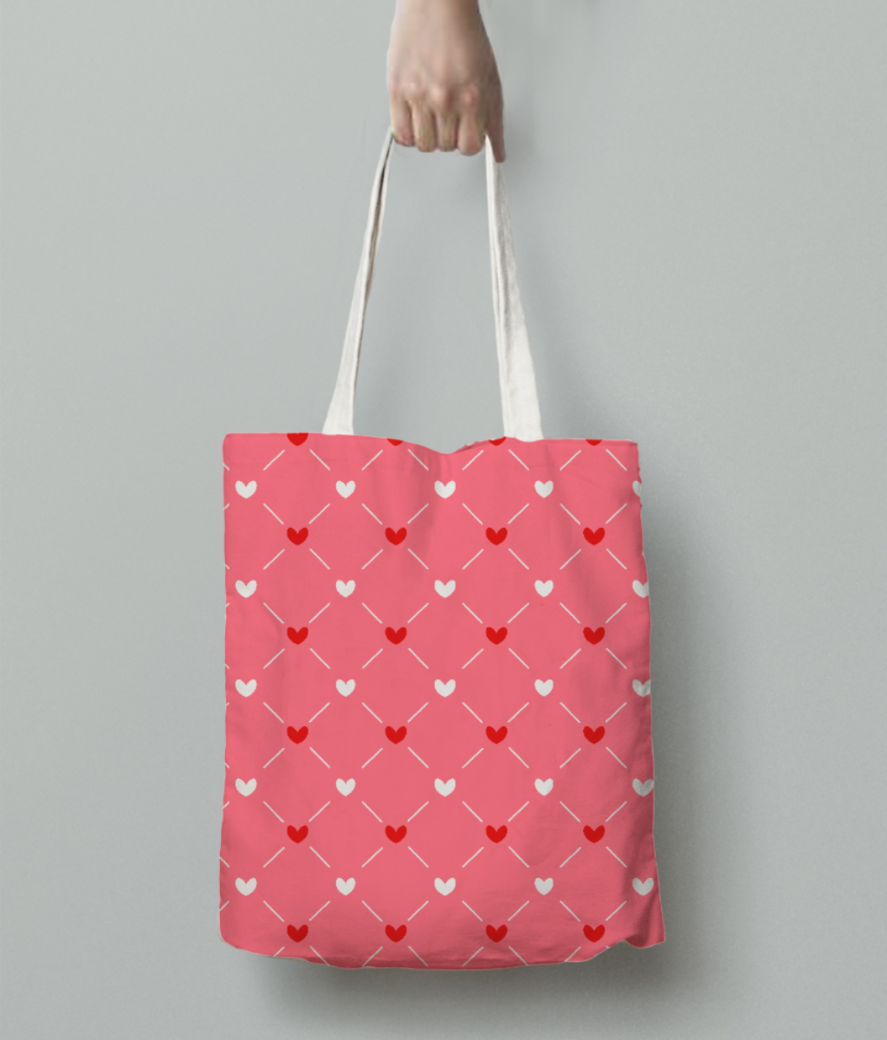 Red white hearts tote bag back