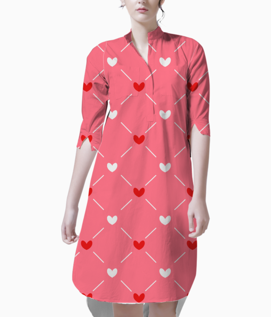 Red white hearts kurti front
