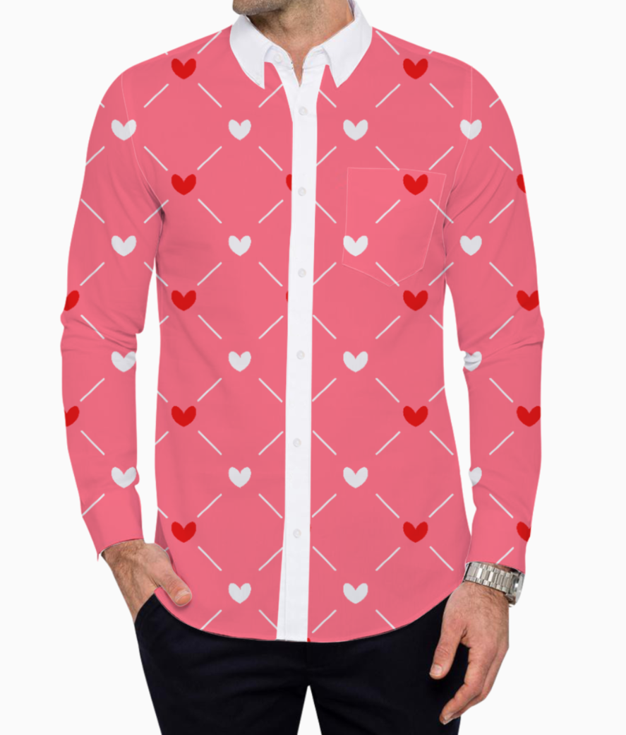 Red white hearts basic shirt front