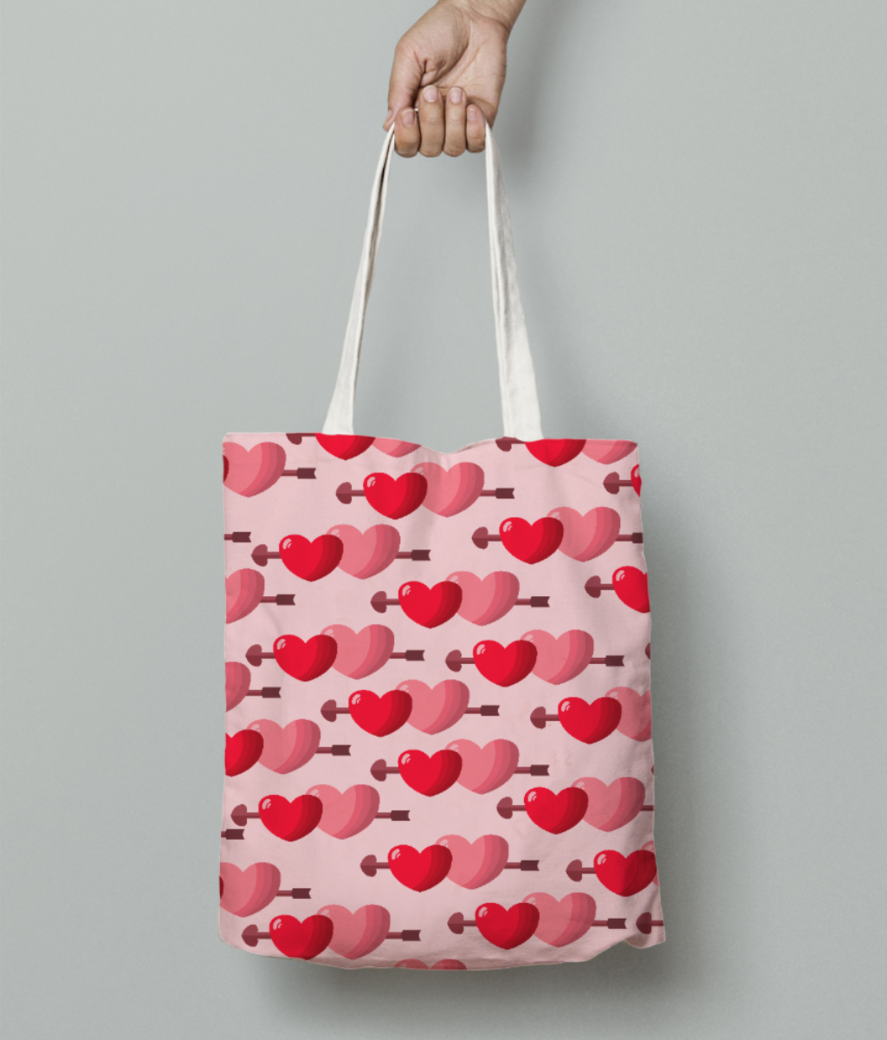 Two hearts tote bag front