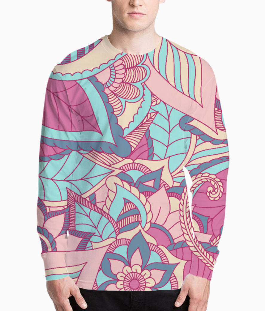 Colourful natural print henley front