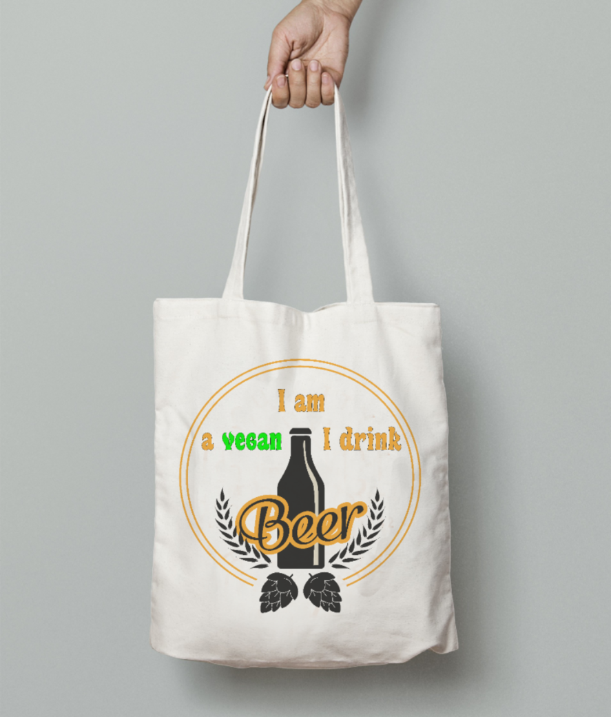 I am vegan tote bag front