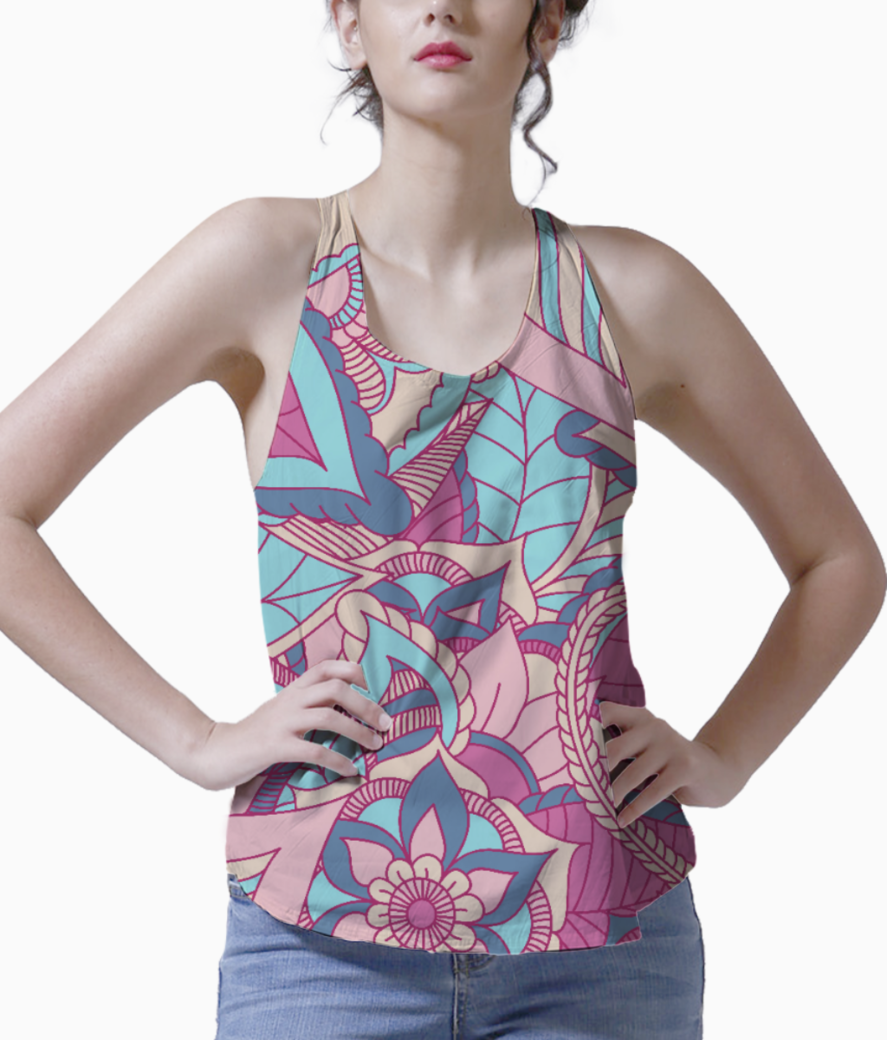 Colourful natural print tank front