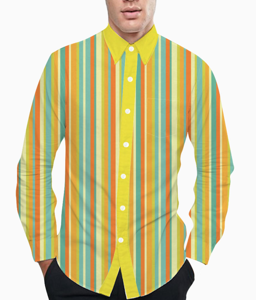 Colourful stripes yellow basic shirt front