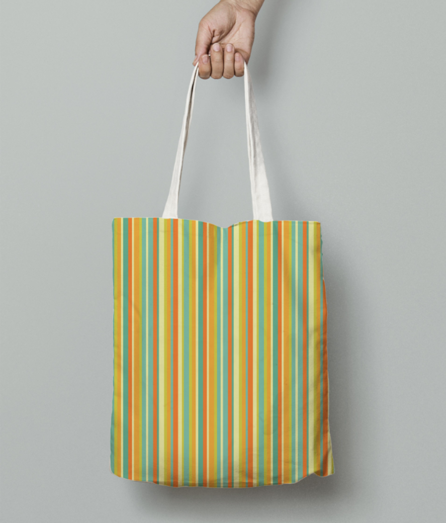Colourful stripes yellow tote bag front