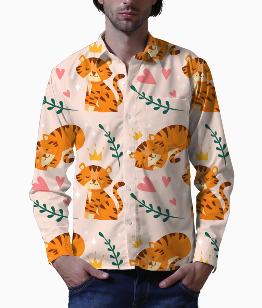 Cute tiger pattern basic shirt front