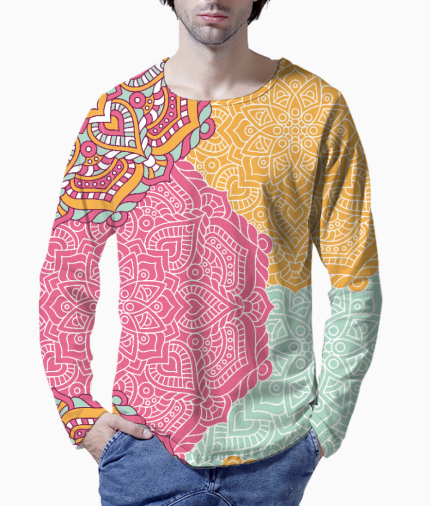 Ethnic pattern 5 henley front