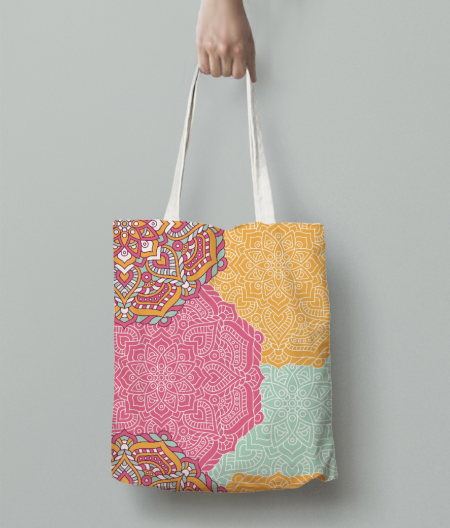 Ethnic pattern 5 tote bag back